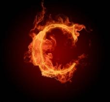 燃烧着的英文字母c图片
