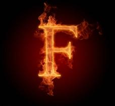 燃烧着的英文字母图片素材F