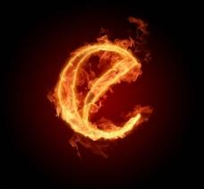 燃烧着的英文字母图片素材e