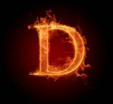 燃烧着的英文字母图片素材D
