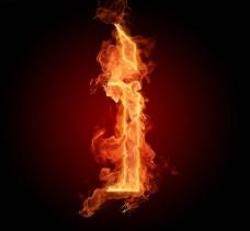 燃烧着的英文字母I图片