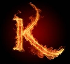 燃烧着的英文字母K图片