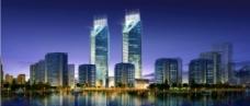 建筑夜景效果图图片