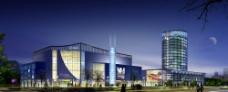 建筑夜景PSD效果图图片