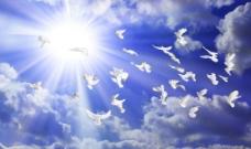 蓝天白云分层素材图片