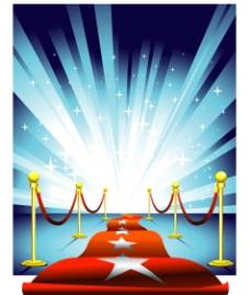 星光大道红地毯护栏主题矢量素材图片