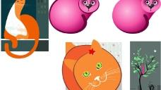 4款 可爱的猫 插画 矢量 素 材图片