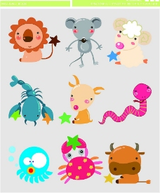 可爱矢量卡通动物图片