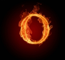 燃烧的英文字母O图片