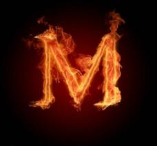 燃烧的英文字母M图片