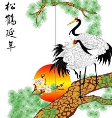 仙鹤青松图片