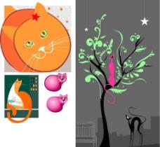 可爱的猫插画图片