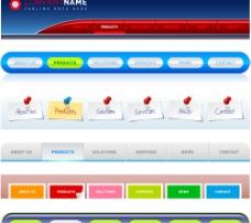 3款网页设计导航按钮矢量素材图片