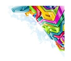 彩色3D水晶风格立体箭头图片