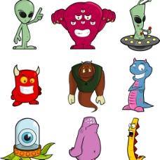卡通外星人矢量素材01图片
