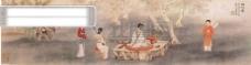 小桥流水人家 古代人物 民间人物 人物 壁画 中国文化 人物画像 中国风 中华艺术绘画