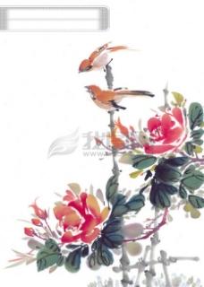 动物 小鸟 喜鹊 油墨画 花丛 中华艺术绘画