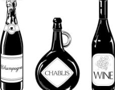 黑白啤酒红酒洋酒图片