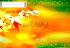 爱有天意枫叶黄绿浪漫的背景psd分层素材源文件