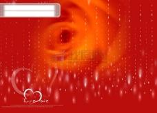 浪漫的红色玫瑰背景心型psd分层素材源文件