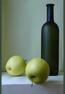 桌上的苹果与瓶图片