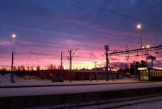 北极圈内的冬日朝霞图片
