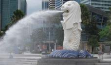鱼狮喷泉图片