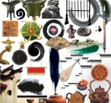 水墨中国风江南房地产设计素材图片