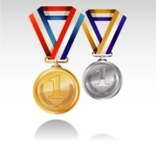 精美奖牌与奖牌绶带矢量素材图片