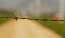 铁丝蒺藜围栏的特写图片