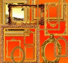 精美金色欧式古典画框图片