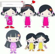 5款韩国可爱女孩矢量素材