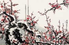 关山月现代国画~红梅7图片
