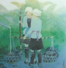 中国现代名画 山长绿  水长流图图片