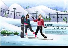 浪漫情怀 冬天 滑雪 美女