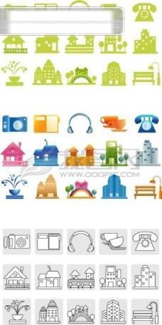 矢量图标,数码相机,计算机,耳机,咖啡杯,电话,洋房,房子,楼房,喷泉,彩虹,长椅椅子,路灯,高楼大厦,矢量素材……