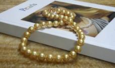 高精金色珍珠项链图片