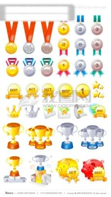 矢量图标,金牌,银牌,铜牌,第一名,冠军,亚军,季军,奖杯,领奖台,best,hit,奖牌,奥运金牌,星星,金色,猪,信封,,矢量素材