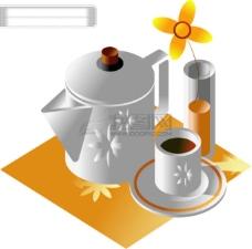 韩国 咖啡壶 咖啡杯 矢量 AI格式